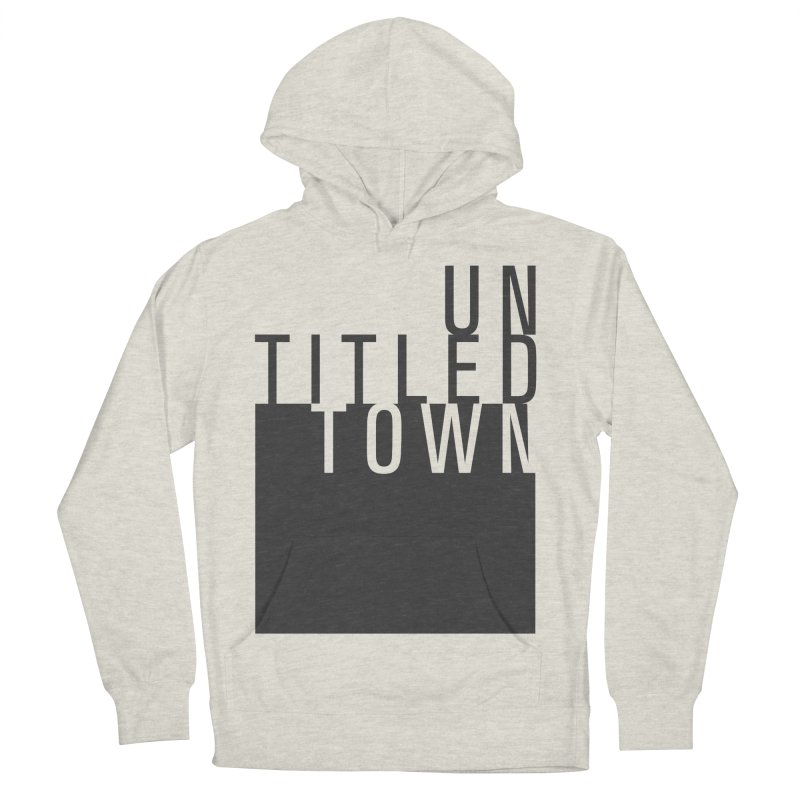 Un/Titled/Town Black +Transparent letters Men's French Terry Pullover Hoody by UntitledTown Store