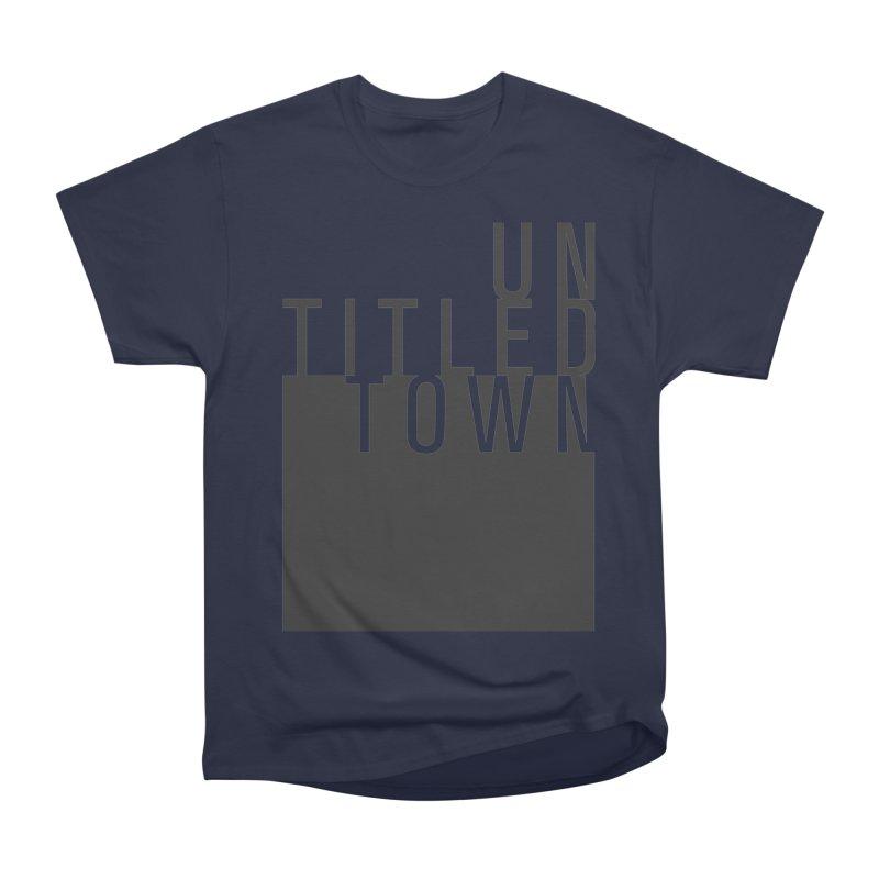 Un/Titled/Town Black +Transparent letters Women's Heavyweight Unisex T-Shirt by UntitledTown Store