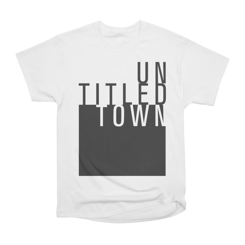 Un/Titled/Town Black +Transparent letters Men's Heavyweight T-Shirt by UntitledTown Store