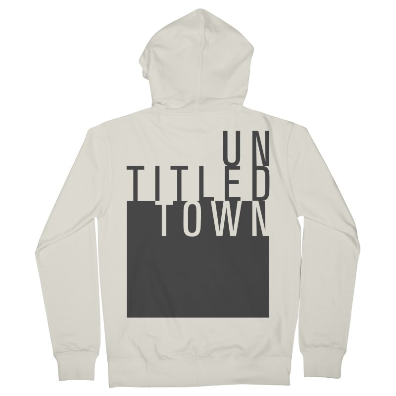 Un/Titled/Town Black +Transparent letters Women's French Terry Zip-Up Hoody by UntitledTown Store