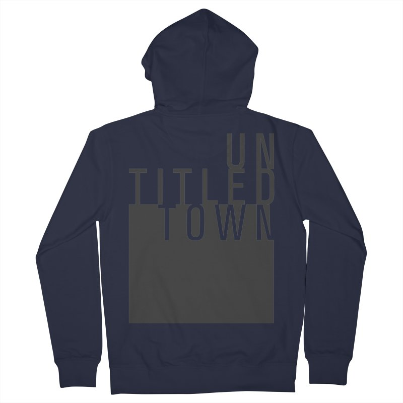 Un/Titled/Town Black +Transparent letters Men's French Terry Zip-Up Hoody by UntitledTown Store