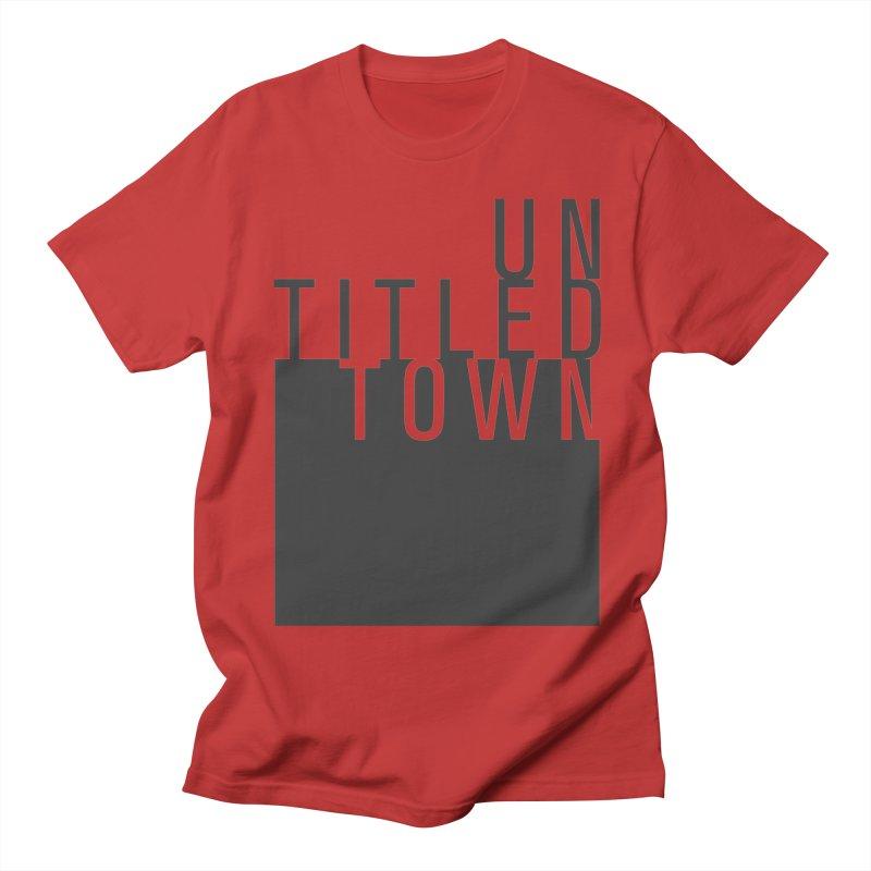 Un/Titled/Town Black +Transparent letters Men's Regular T-Shirt by UntitledTown Store