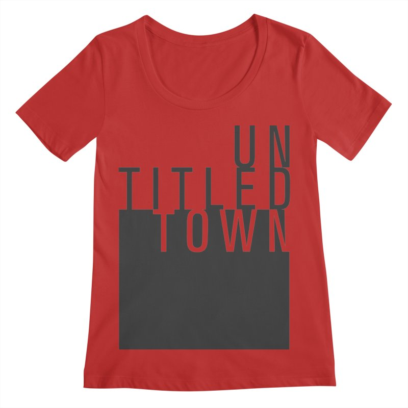 Un/Titled/Town Black +Transparent letters Women's Regular Scoop Neck by UntitledTown Store