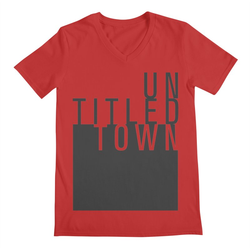 Un/Titled/Town Black +Transparent letters Men's Regular V-Neck by UntitledTown Store