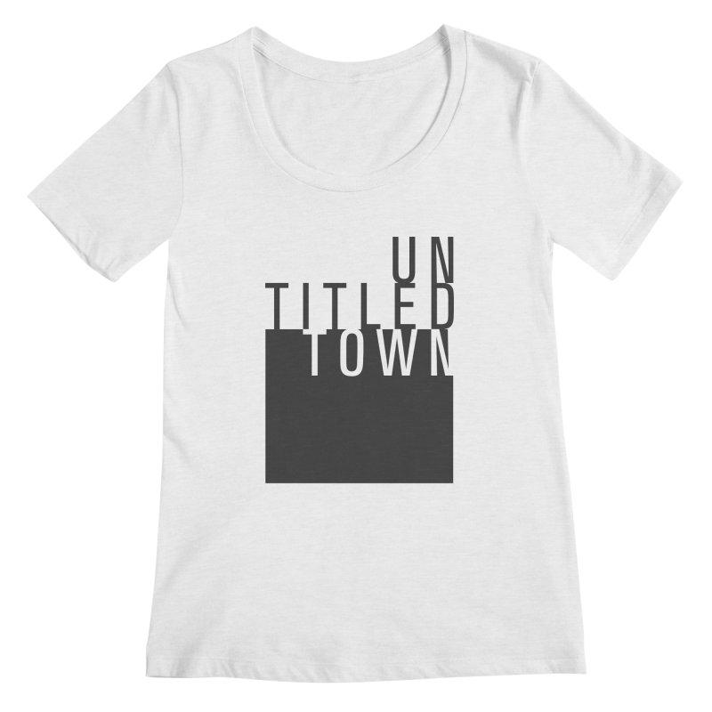 Un/Titled/Town Black +Transparent letters Women's Regular Scoop Neck by UntitledTown Store