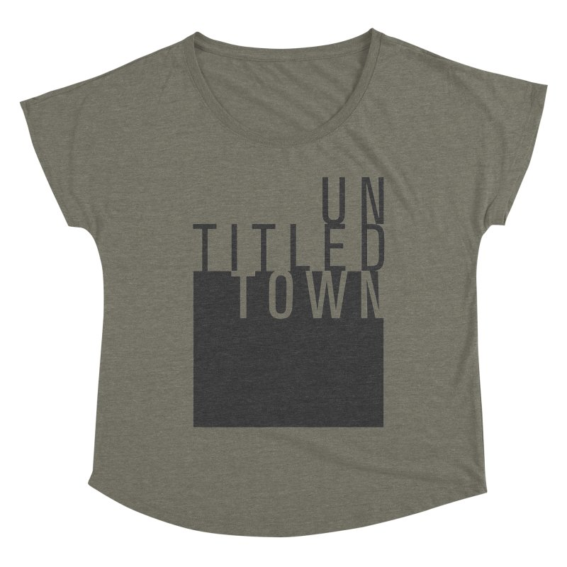 Un/Titled/Town Black +Transparent letters Women's Dolman Scoop Neck by UntitledTown Store