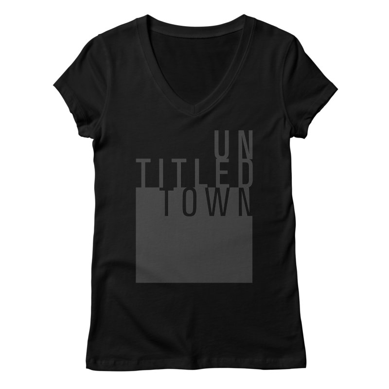 Un/Titled/Town Black +Transparent letters Women's Regular V-Neck by UntitledTown Store