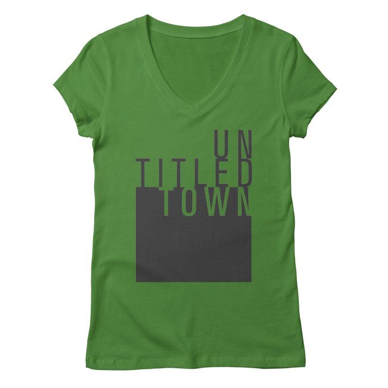 Un/Titled/Town Black +Transparent letters Women's Regular V-Neck by UntitledTown Store