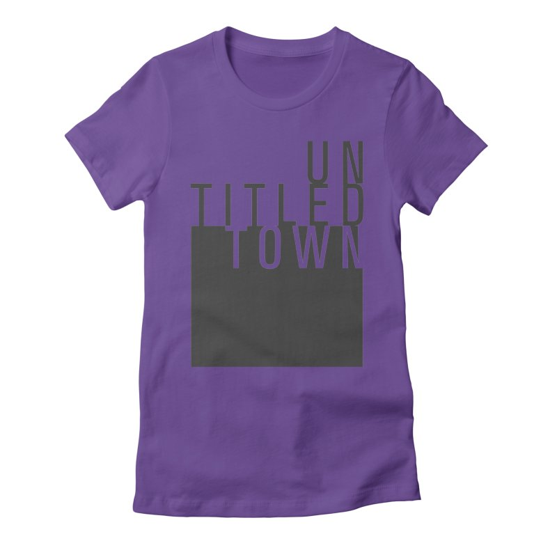 Un/Titled/Town Black +Transparent letters Women's Fitted T-Shirt by UntitledTown Store