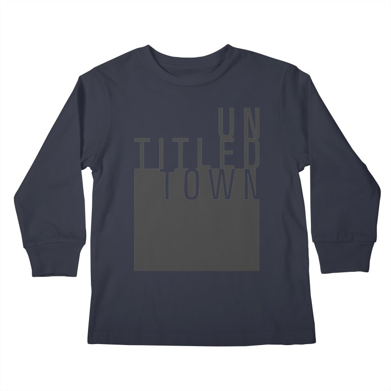 Un/Titled/Town Black +Transparent letters Kids Longsleeve T-Shirt by UntitledTown Store