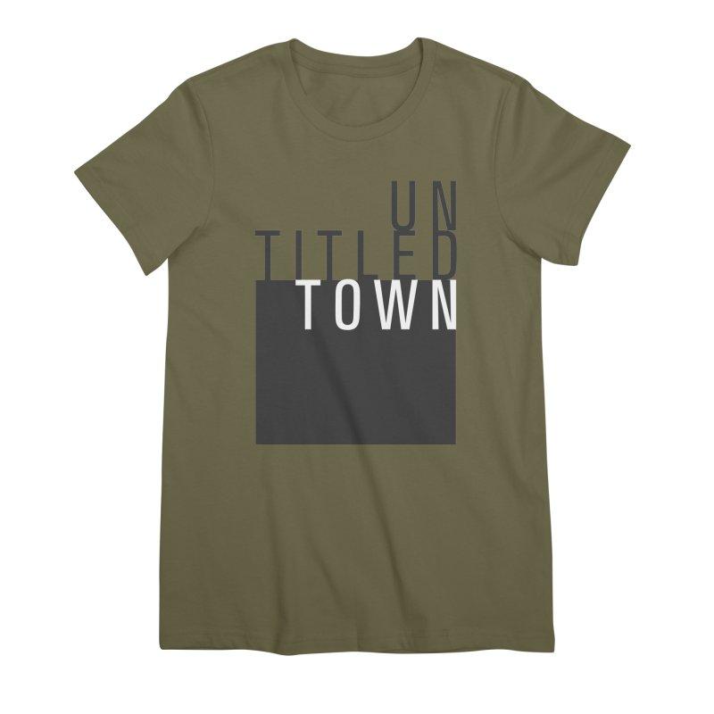 Un/Titled/Town Black + White letters Women's Premium T-Shirt by UntitledTown Store