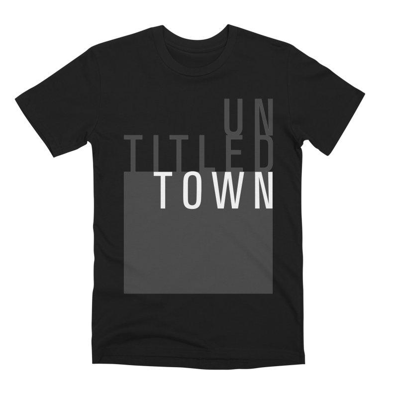 Un/Titled/Town Black + White letters Men's Premium T-Shirt by UntitledTown Store