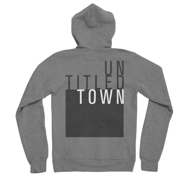 Un/Titled/Town Black + White letters Men's Sponge Fleece Zip-Up Hoody by UntitledTown Store