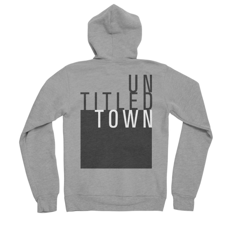 Un/Titled/Town Black + White letters Men's Sponge Fleece Zip-Up Hoody by UntitledTown Store