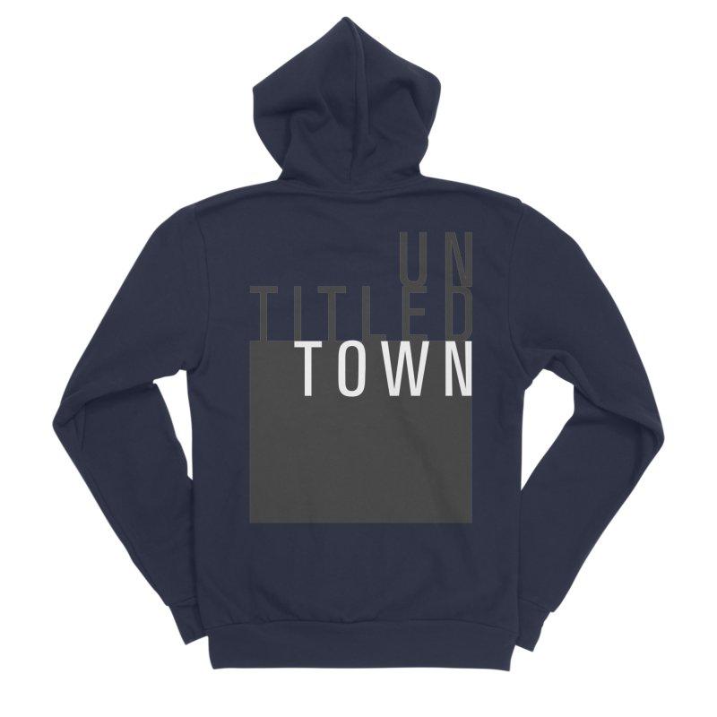 Un/Titled/Town Black + White letters Women's Sponge Fleece Zip-Up Hoody by UntitledTown Store