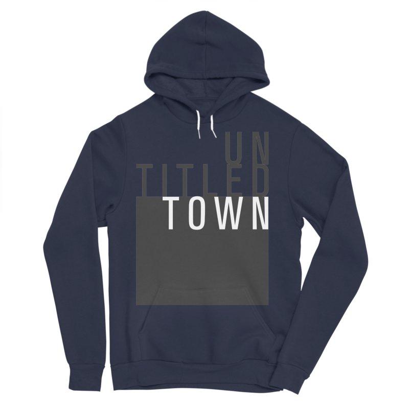 Un/Titled/Town Black + White letters Women's Sponge Fleece Pullover Hoody by UntitledTown Store