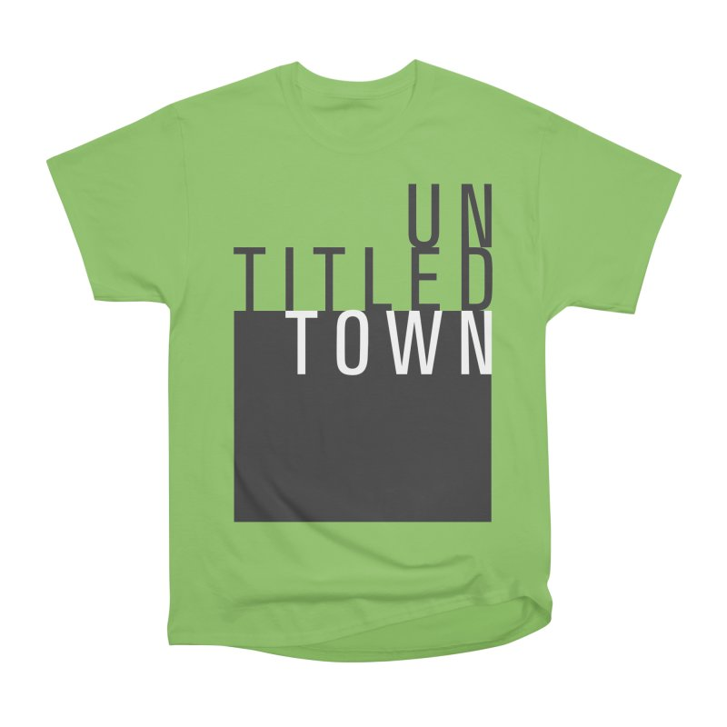 Un/Titled/Town Black + White letters Men's Heavyweight T-Shirt by UntitledTown Store