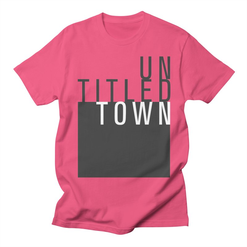 Un/Titled/Town Black + White letters Men's Regular T-Shirt by UntitledTown Store