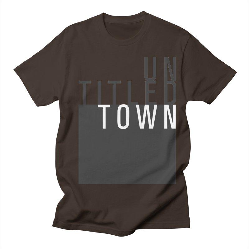 Un/Titled/Town Black + White letters Men's Regular T-Shirt by UntitledTown Store