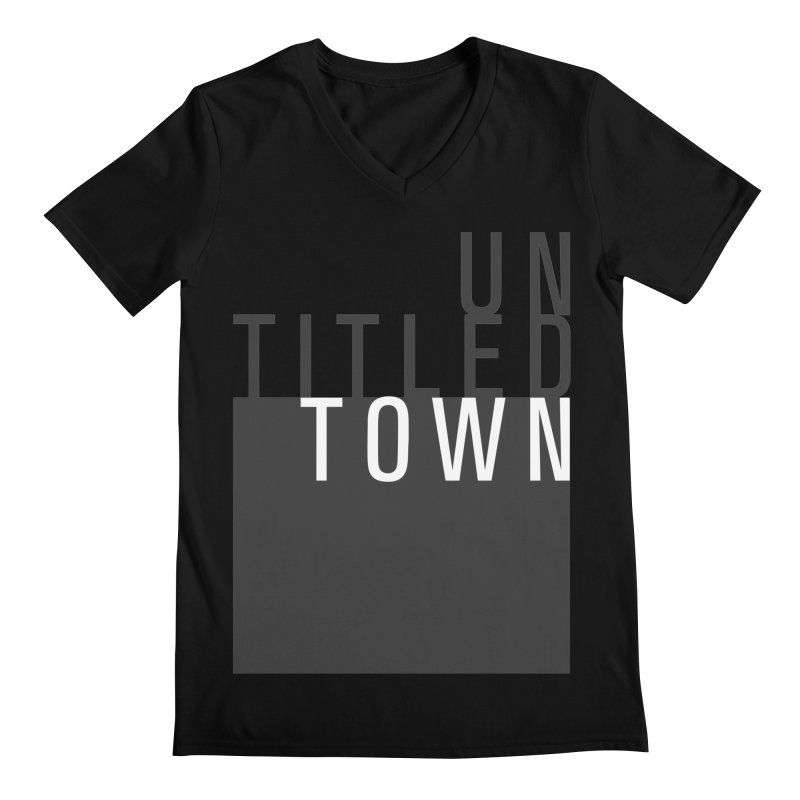 Un/Titled/Town Black + White letters Men's Regular V-Neck by UntitledTown Store