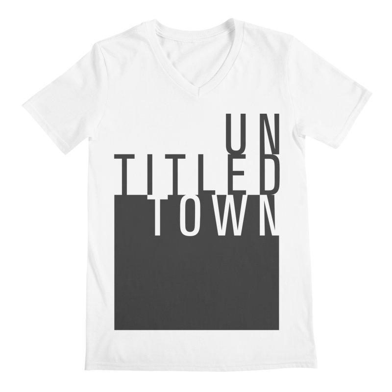 Un/Titled/Town Black + White letters Men's V-Neck by UntitledTown Store