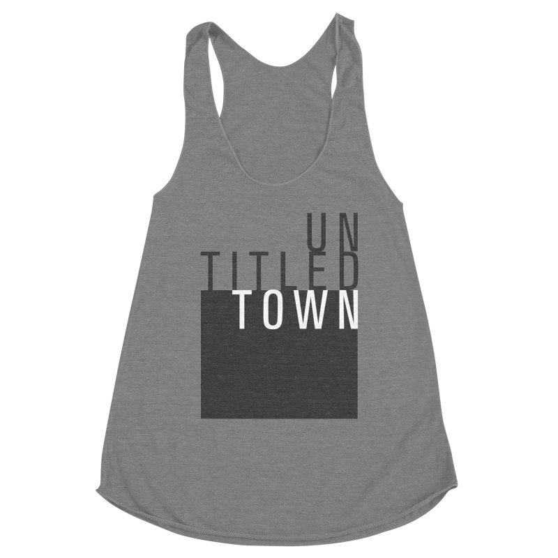 Un/Titled/Town Black + White letters Women's Racerback Triblend Tank by UntitledTown Store