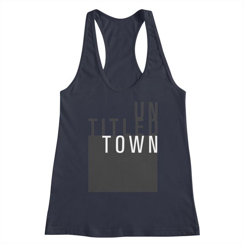 Un/Titled/Town Black + White letters Women's Racerback Tank by UntitledTown Store