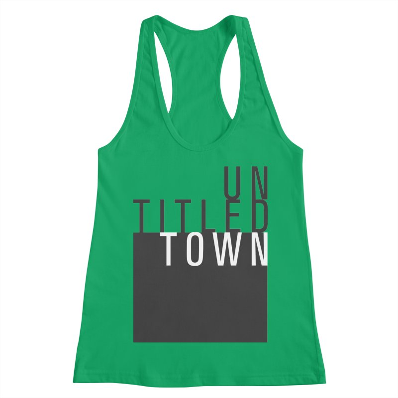 Un/Titled/Town Black + White letters Women's Racerback Tank by UntitledTown Store
