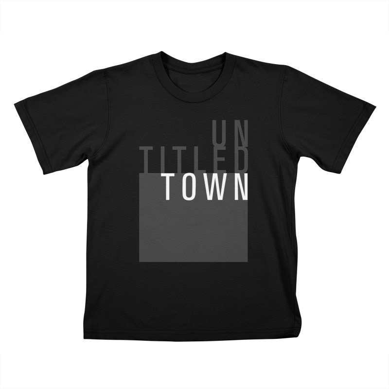 Un/Titled/Town Black + White letters Kids T-Shirt by UntitledTown Store