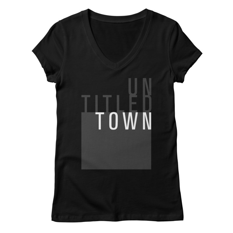 Un/Titled/Town Black + White letters Women's V-Neck by UntitledTown Store
