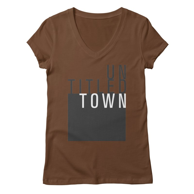 Un/Titled/Town Black + White letters Women's Regular V-Neck by UntitledTown Store