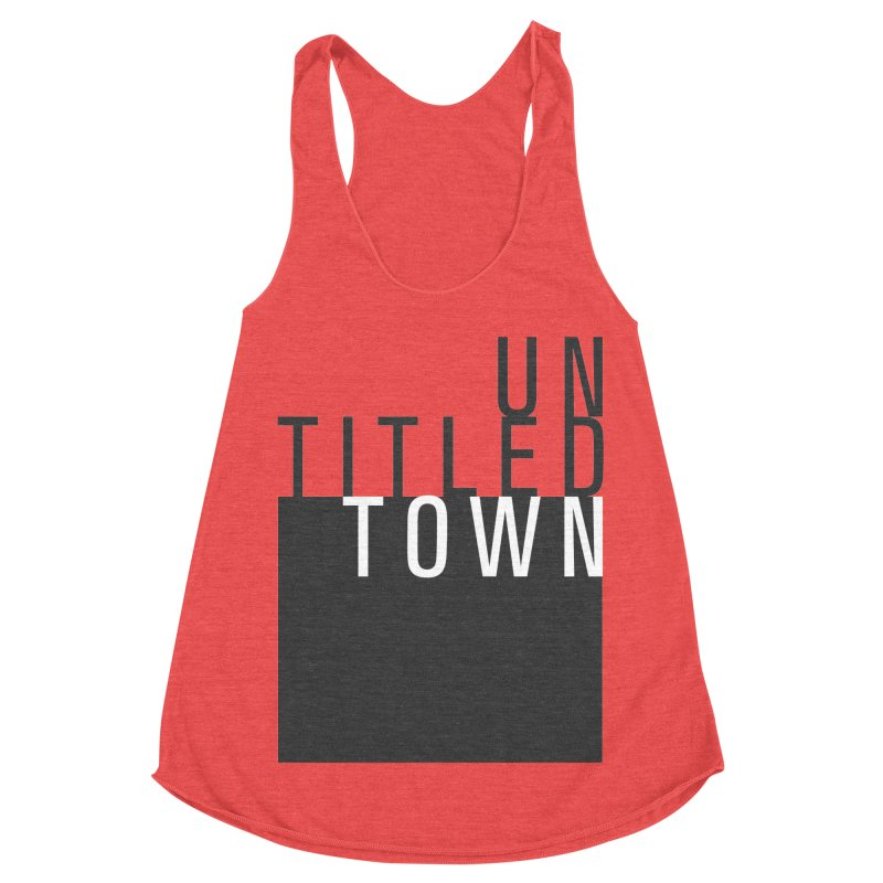 Un/Titled/Town Black + White letters Women's Racerback Triblend Tank by UntitledTown Store