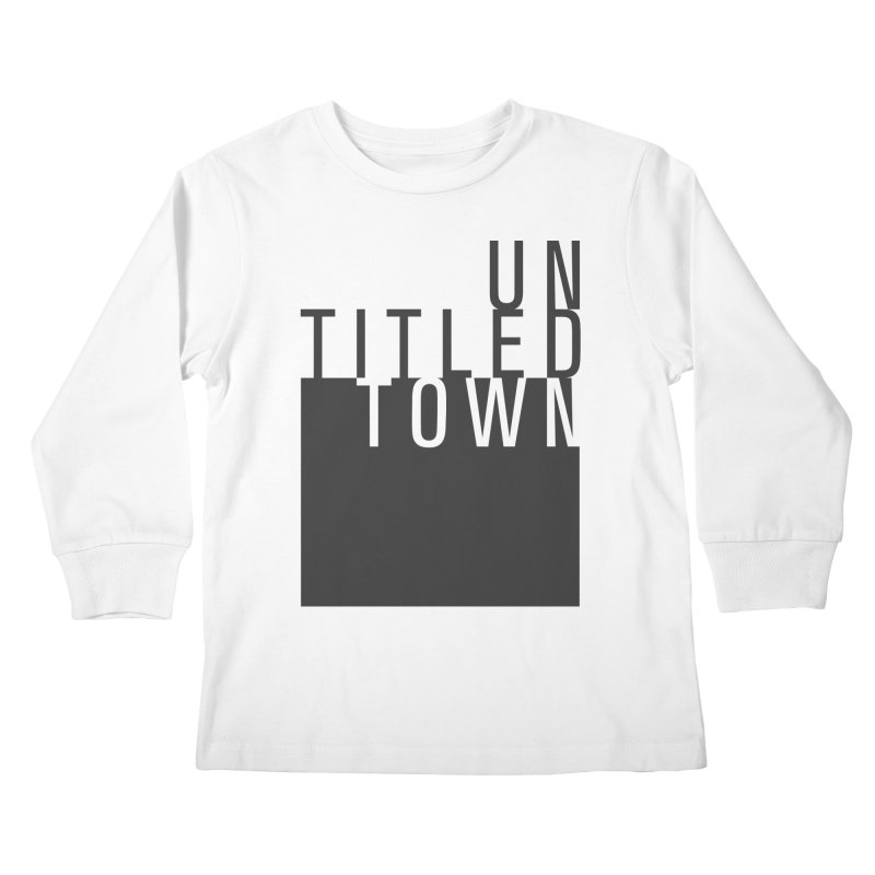 Un/Titled/Town Black + White letters Kids Longsleeve T-Shirt by UntitledTown Store