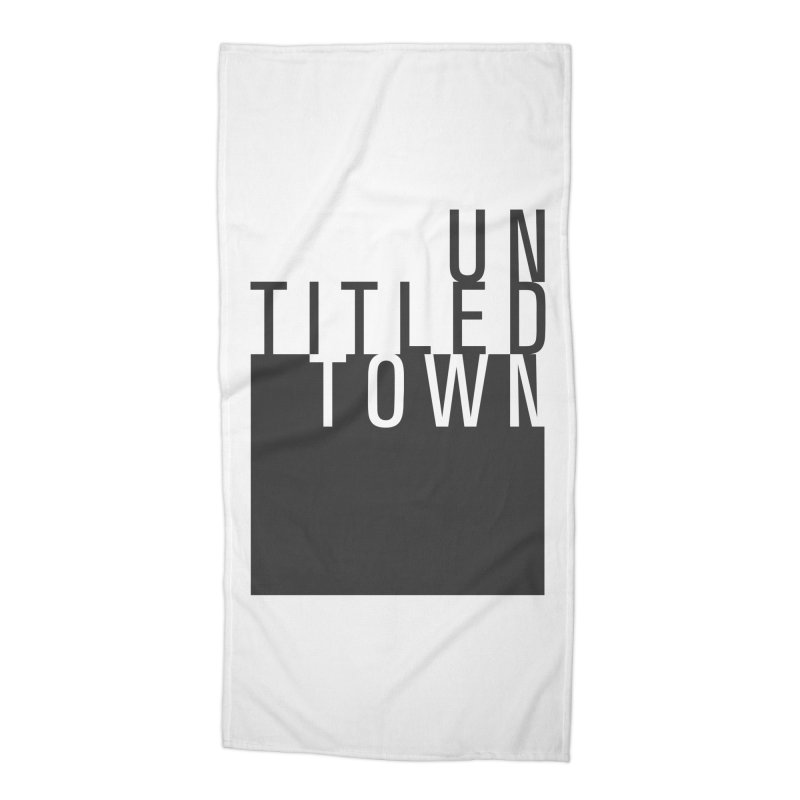 Un/Titled/Town Black + White letters Accessories Beach Towel by UntitledTown Store