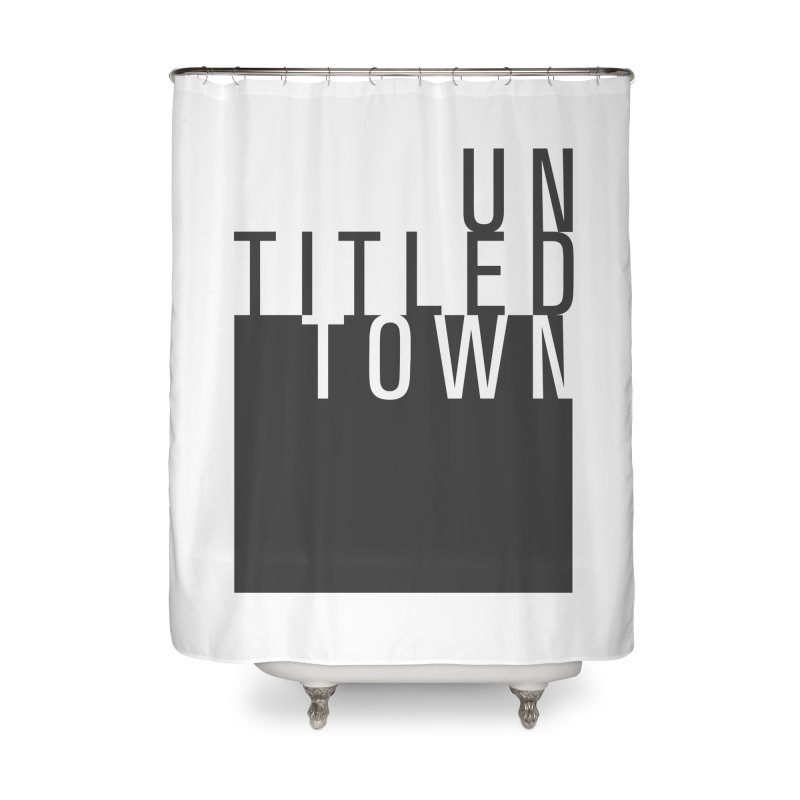 Un/Titled/Town Black + White letters Home Shower Curtain by UntitledTown Store