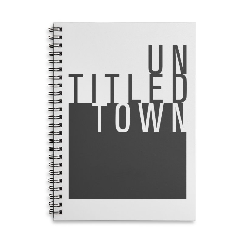 Un/Titled/Town Black + White letters Accessories Lined Spiral Notebook by UntitledTown Store