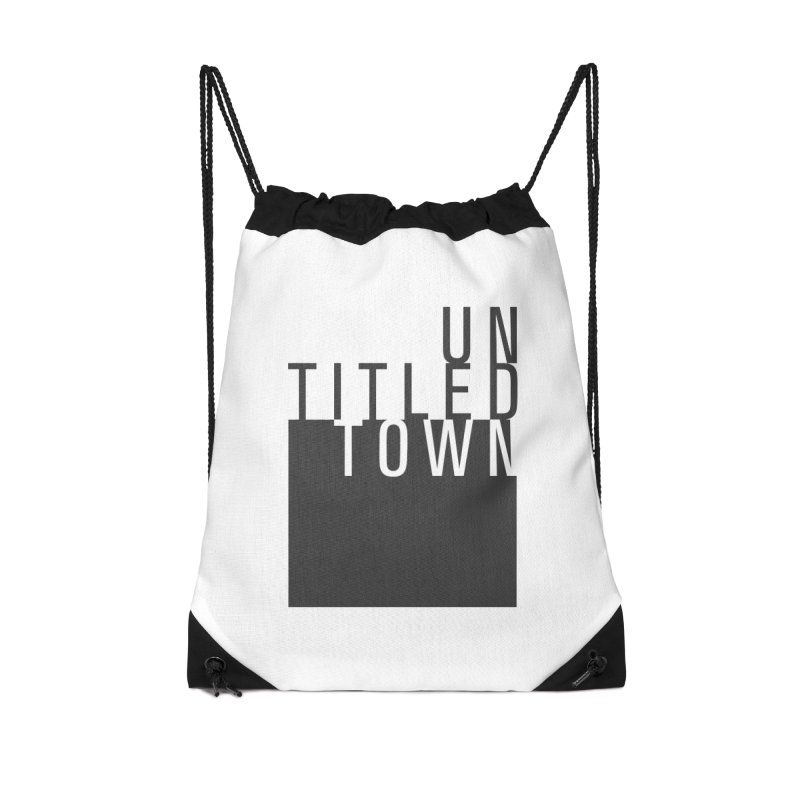 Un/Titled/Town Black + White letters Accessories Drawstring Bag Bag by UntitledTown Store