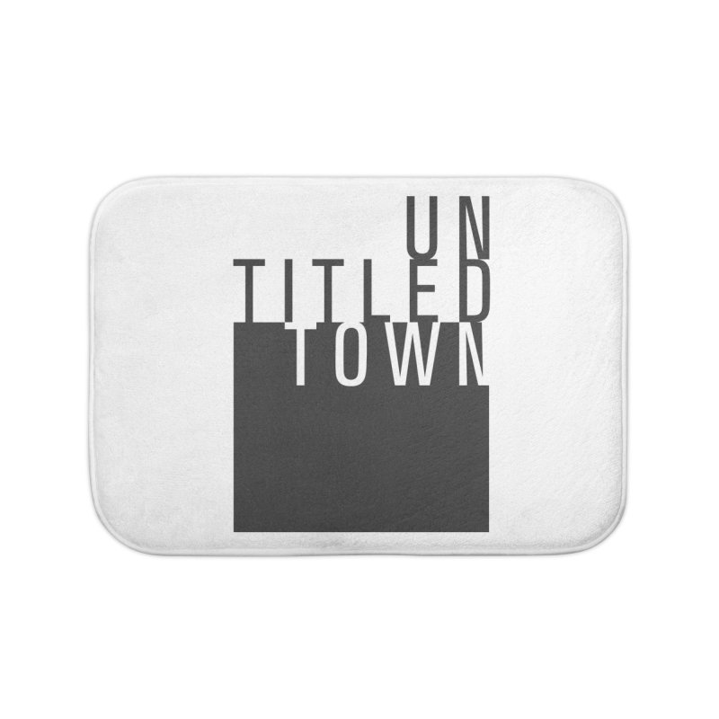 Un/Titled/Town Black + White letters Home Bath Mat by UntitledTown Store