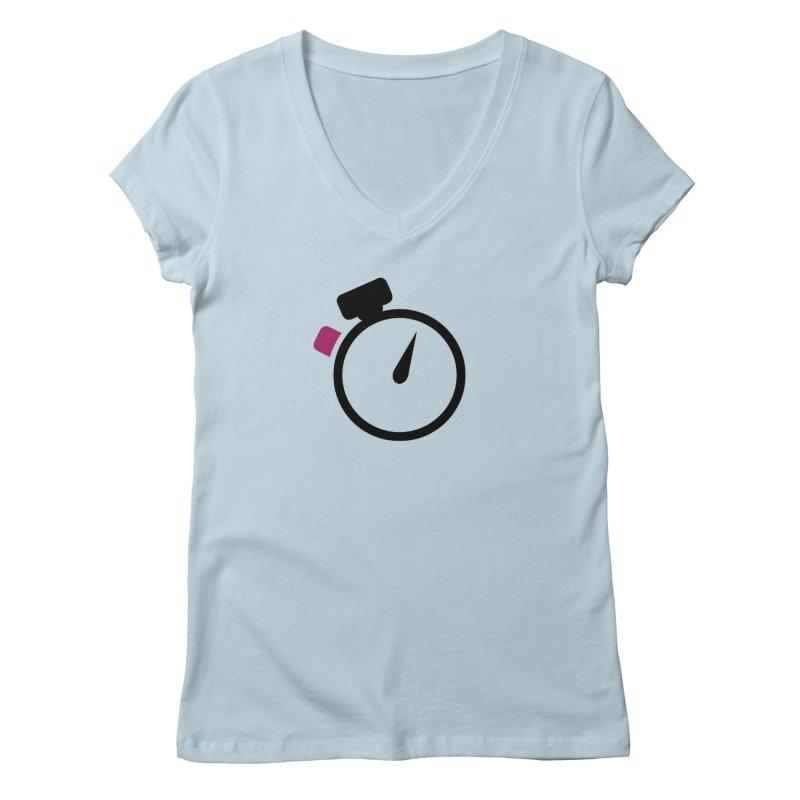 Unusual Efforts Stopwatch Logo Women's V-Neck by Unusual Efforts Merchandise and Prints