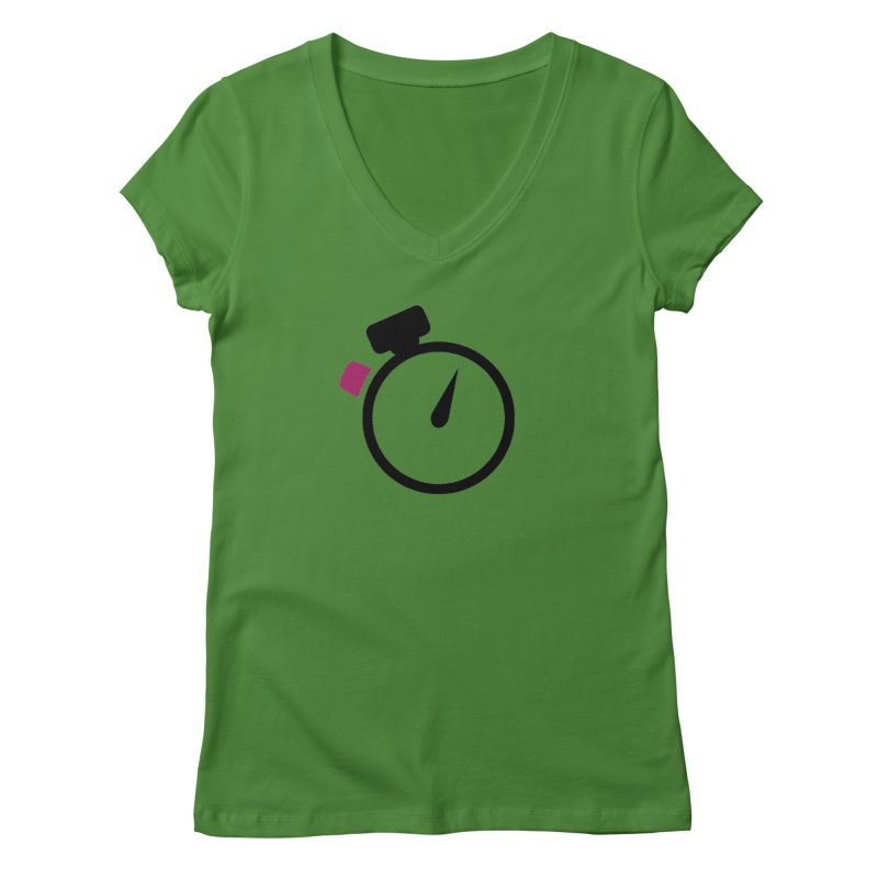 Unusual Efforts Stopwatch Logo Women's Regular V-Neck by Unusual Efforts Merchandise and Prints