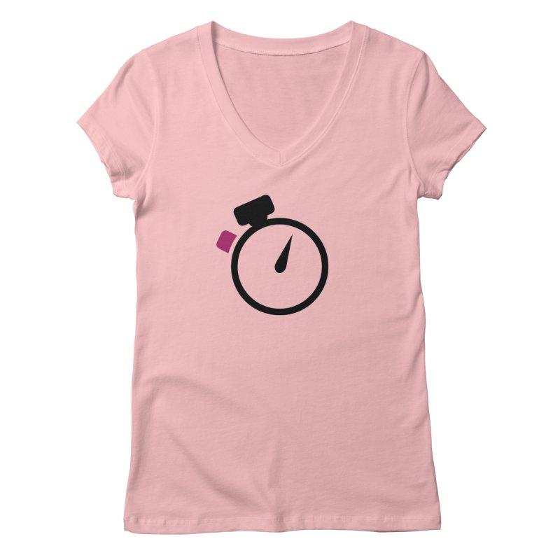 Unusual Efforts Stopwatch Logo Women's Regular V-Neck by Unusual Efforts Merchandise and Prints