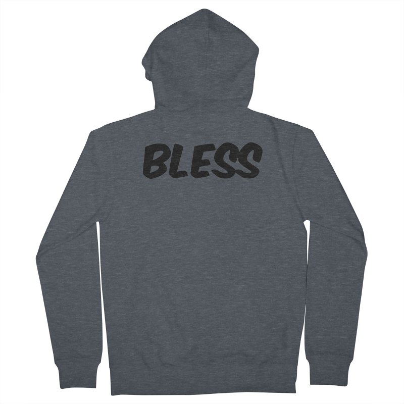 BLESS *Black Font* Men's French Terry Zip-Up Hoody by uppercaseCHASE1