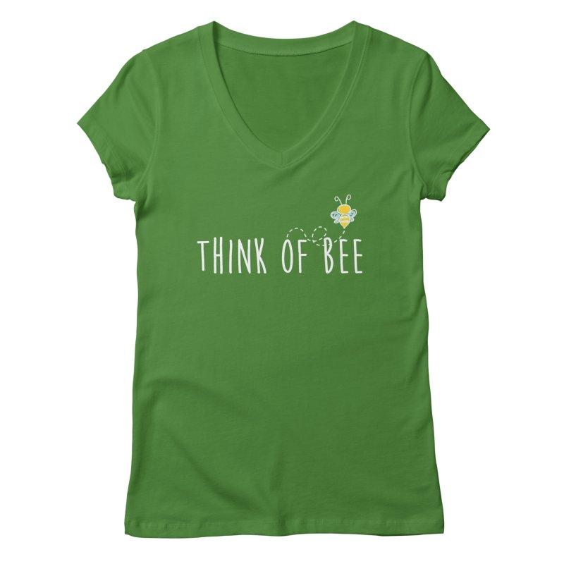 Think of Bee *White Font* Women's Regular V-Neck by uppercaseCHASE1