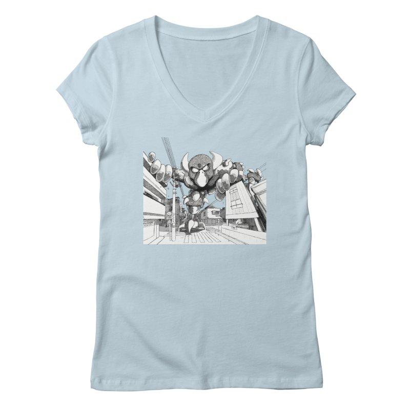 Kaiju Women's V-Neck by upstartthunder's Artist Shop
