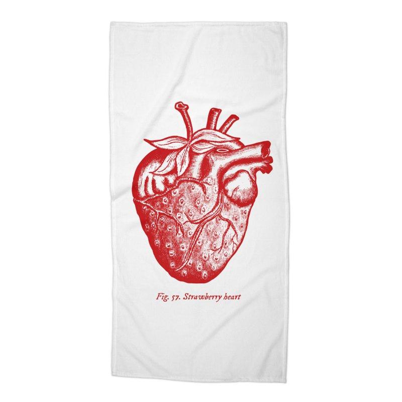 Strawberry Heart Red Accessories Accessories Beach Towel by Urban Prey's Artist Shop
