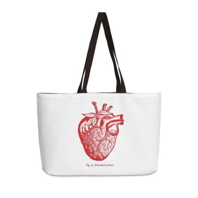 Strawberry Heart Red Accessories Accessories Weekender Bag Bag by Urban Prey's Artist Shop