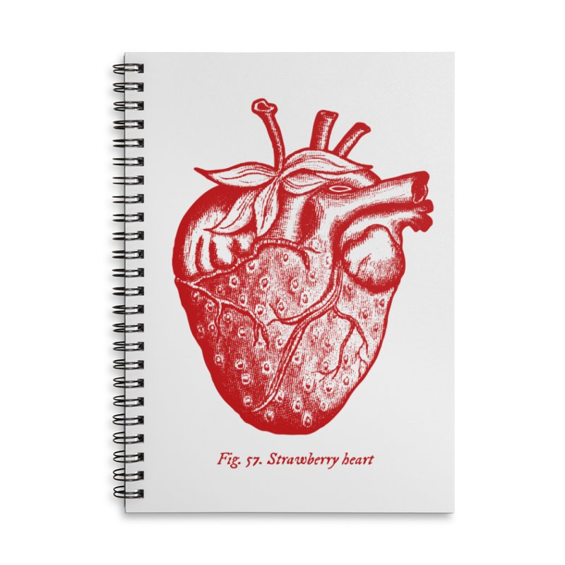 Strawberry Heart Red Accessories Accessories Lined Spiral Notebook by Urban Prey's Artist Shop