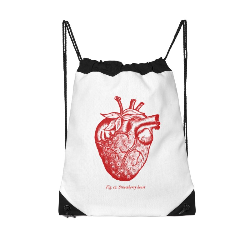 Strawberry Heart Red Accessories Accessories Drawstring Bag Bag by Urban Prey's Artist Shop