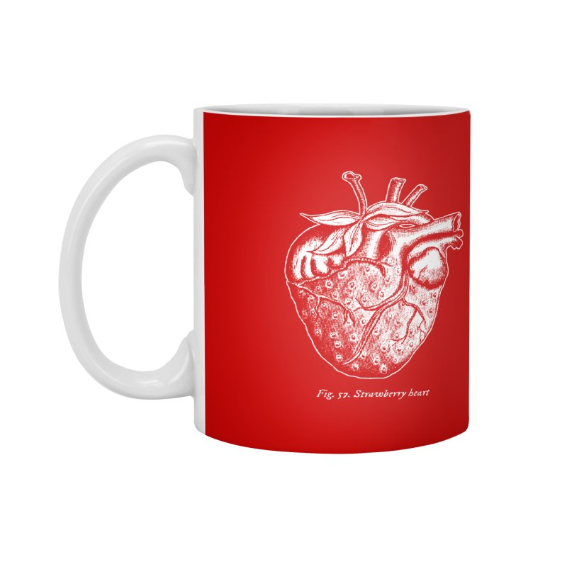 Strawberry Heart White Accessories Accessories Mug by Urban Prey's Artist Shop
