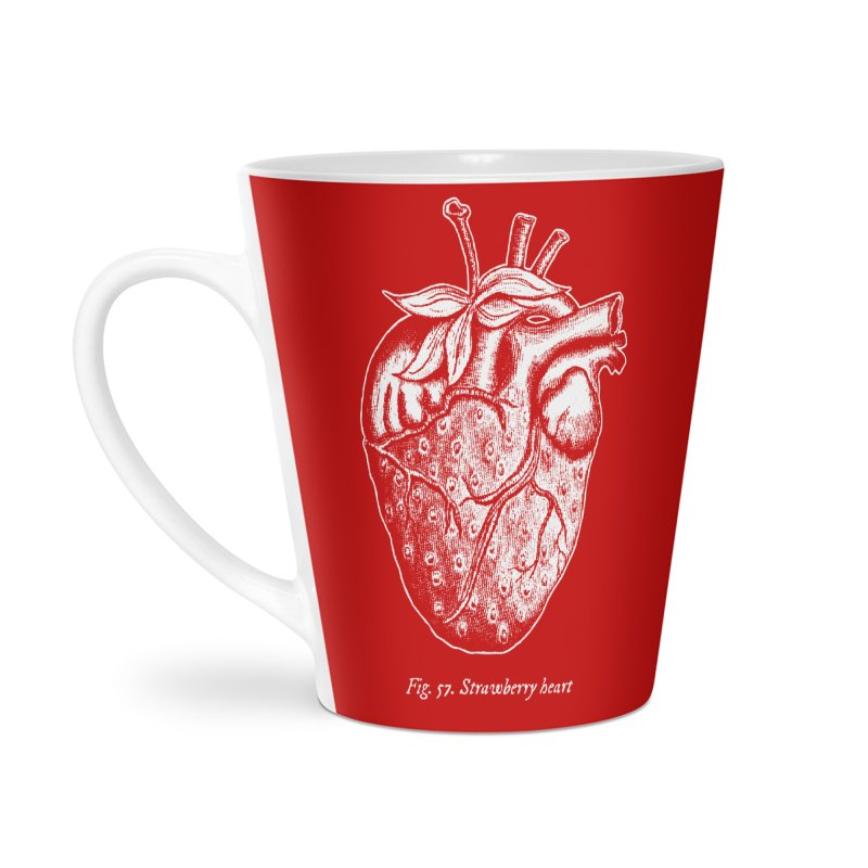 Strawberry Heart White Accessories Accessories Latte Mug by Urban Prey's Artist Shop